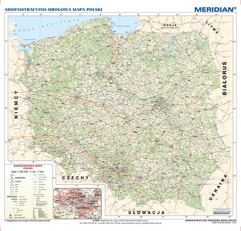 Administracyjno Drogowa Mapa Polski Wydawnictwo Edulex